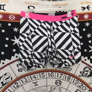 Nike Pro Black/White/Pink Patterned Comp Shorts